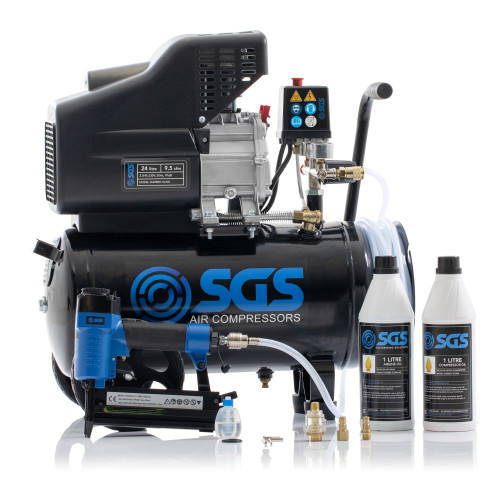SGS 24 Litre Direct Drive Air Compressor With Integrated Hose Reel & 2in1 Air Nail / Staple Gun - 9.5CFM, 2.5HP, 24L