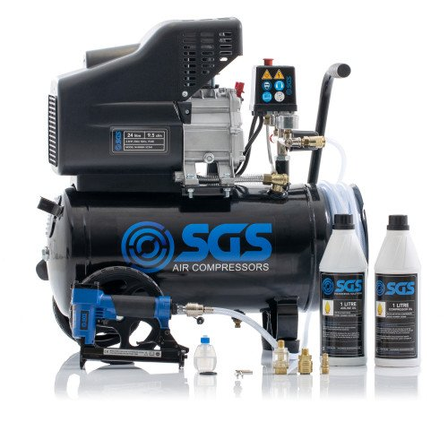SGS 24 Litre Direct Drive Air Compressor With Integrated Hose Reel & Staple Gun Kit - 9.5CFM, 2.5HP, 24L
