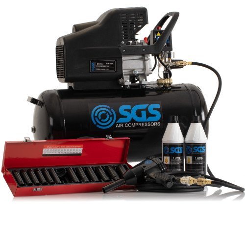 "SGS 50 Litre Direct Drive Air Compressor & 1/2"" Impact Wrench Kit with Sockets - 9.6CFM, 2.5HP, 50L"