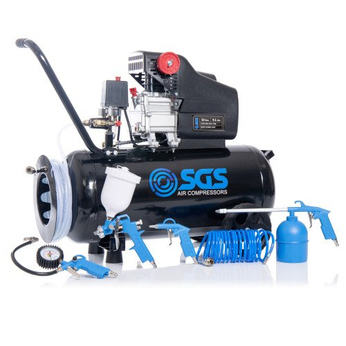 SGS 50 Litre Direct Drive Air Compressor With Integrated Hose Reel & 5 Piece Tool Kit - 9.5CFM, 2.5HP, 50L