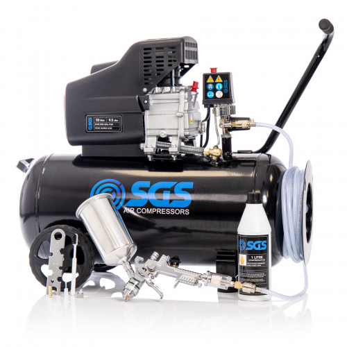SGS 50 Litre Direct Drive Air Compressor with Spray Gun Kit - 9.5CFM, 2.5HP, 50L