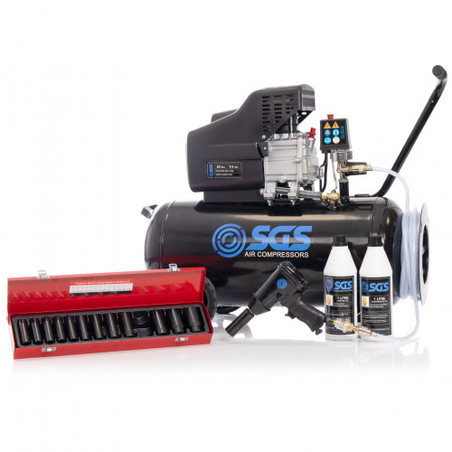 "SGS 50 Litre Direct Drive Air Compressor with 1/2"" Impact Wrench and Socket set - 9.5CFM, 2.5HP, 50L"