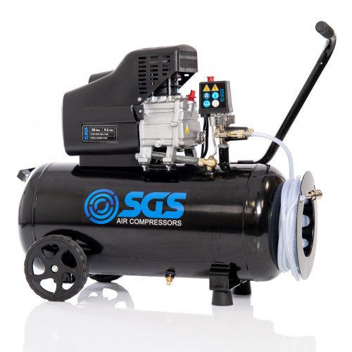 SGS 50 Litre Direct Drive Air Compressor With Integrated Hose Reel - 9.5CFM, 2.5HP, 50L