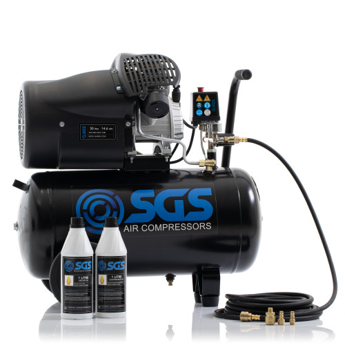 SGS 50 Litre Direct Drive Air Compressor with Starter Kit - 14.6CFM, 3.0HP, 50L