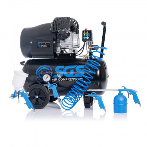 SGS 50 Litre Direct Drive V-Twin High Power Air Compressor with Tool Kit - 14.6CFM, 3.0HP, 50L