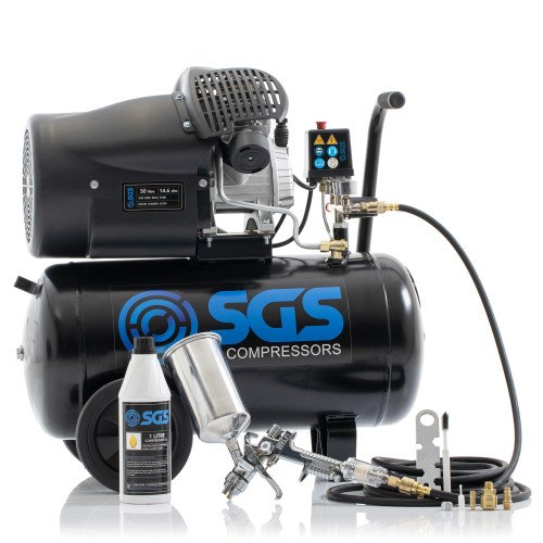 SGS 50 Litre Direct Drive Air Compressor with Spray Gun Kit - 14.6CFM, 3.0HP, 50L