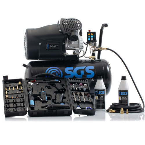 SGS 50 Litre Direct Drive Air Compressor with 71 Pieces Air Tool Kit - 14.6CFM, 3.0HP, 50L