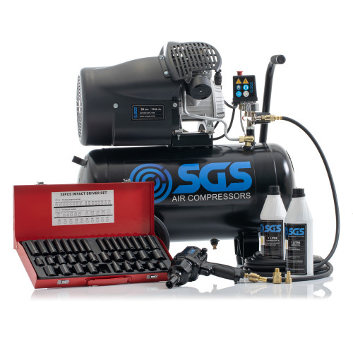 "SGS 50 Litre Direct Drive Air Compressor with 1/2"" Impact Wrench & Socket Set - 14.6CFM, 3.0HP, 50L"