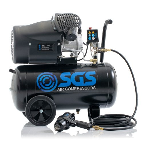 SGS 50 Litre Direct Drive Air Compressor with 880Nm Impact Wrench - 14.6CFM, 3.0HP, 50L