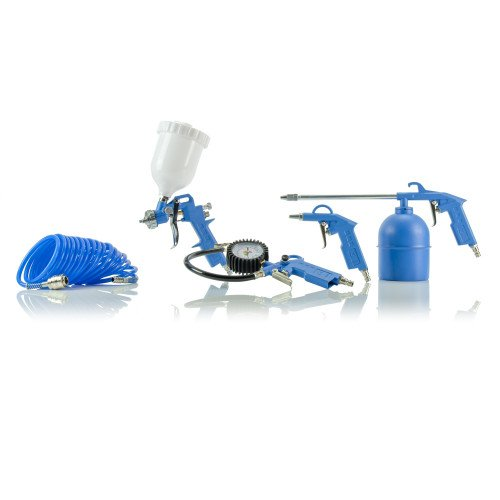 SGS 5 Piece Air Compressor Kit With Quick Fittings - Spray, Blow, Oil Gun, Tyre Inflator & Hose