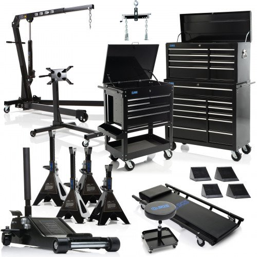 SGS Professional Garage Equipment Bundle: Tool Chest, Jack, Engine Crane, Stand, Creeper & More