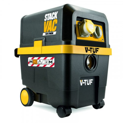 V-TUF STACKVAC 110 Volt 30L Wet & Dry M Class Syncronised Dust Extractor with Auxillary Storage interface