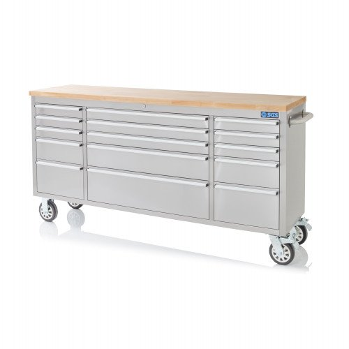 """SGS 72"""" Stainless Steel 15 Drawer Work Bench Tool Box Chest Cabinet"""