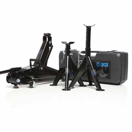 2 Ton trolley jack with a carry case and 3 ton axle stands