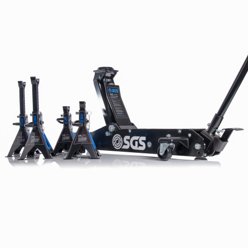 SGS 3 Ton Long Reach Service Trolley Jack and Four 3 Ton Ratchet Axle Stands