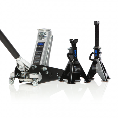 1.25 Tonne racing trolley jack and ratchet axle stands