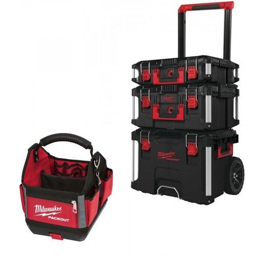 Milwaukee Packout Bundle with 3 Piece Toolbox System and 25cm Tote Tool Bag