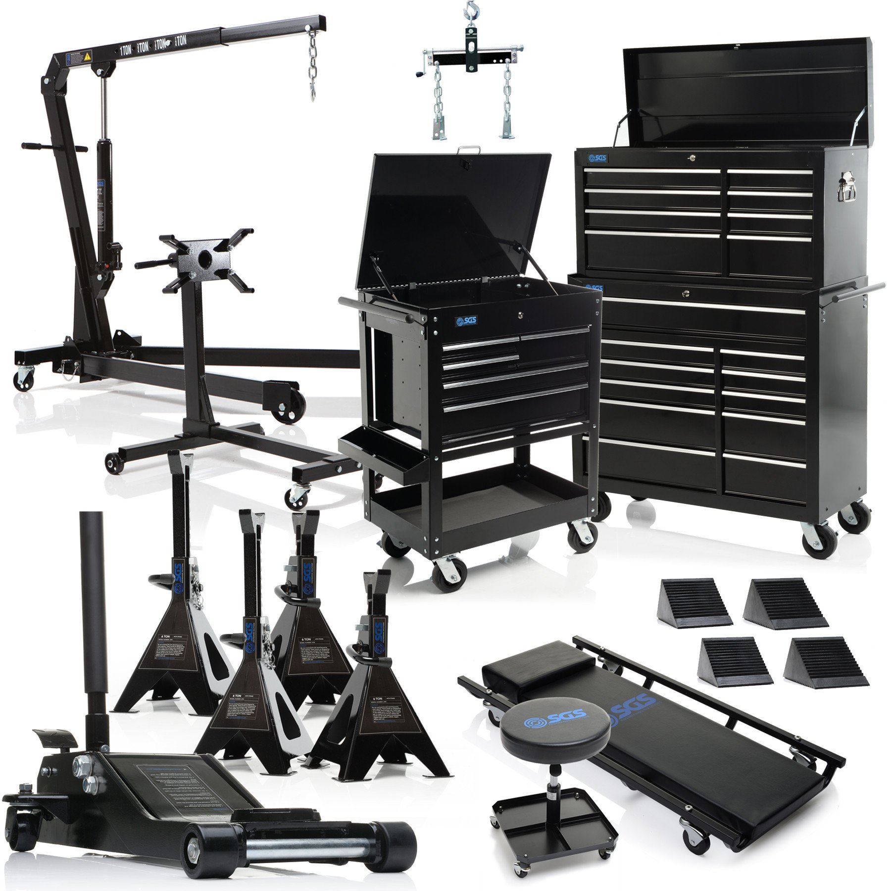 Professional Garage Equipment Bundle: Tool Chest, Jack, Engine Crane, Stand, Creeper & More