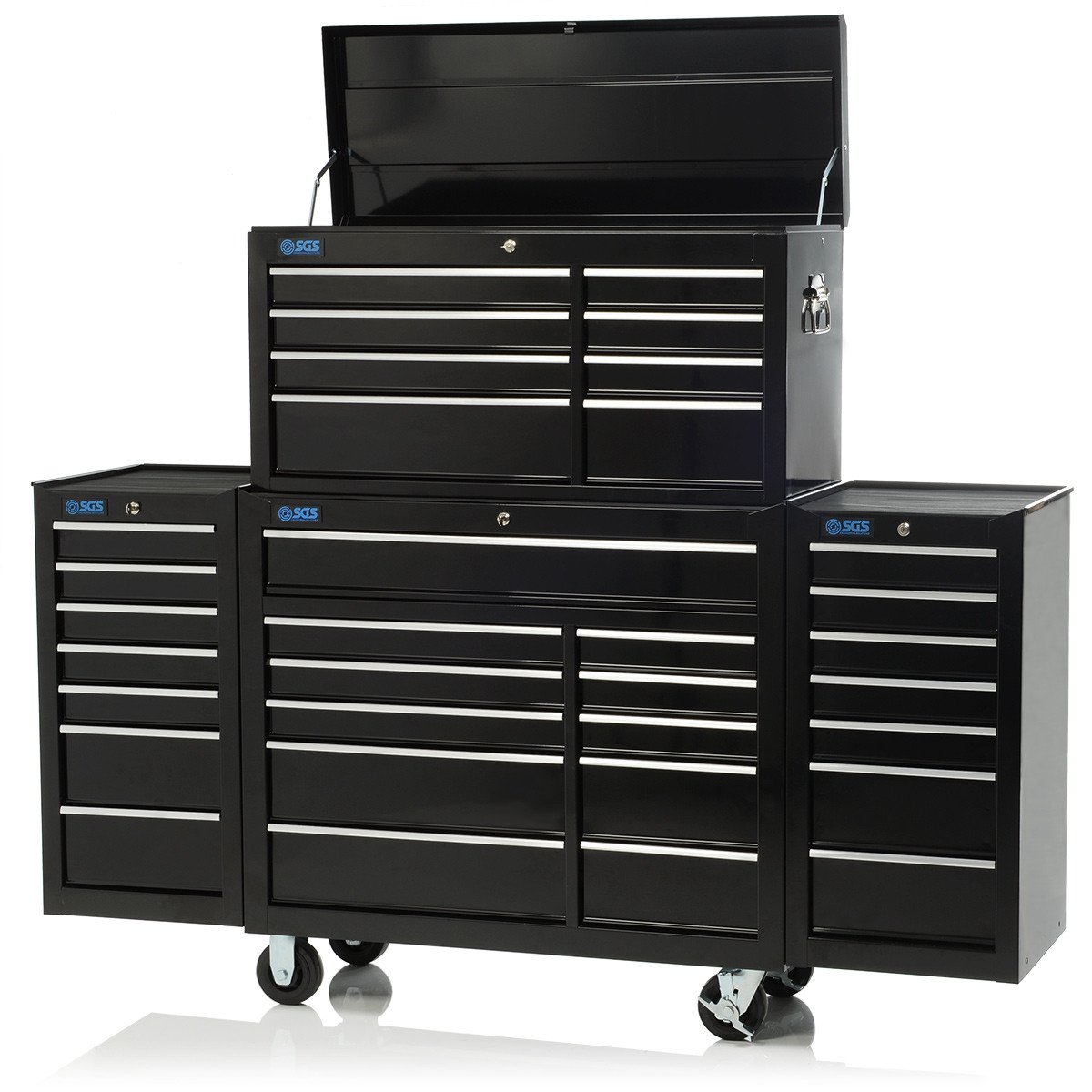 75 Professional 33 Drawer Tool Chest Cabinet Two Side Lockers