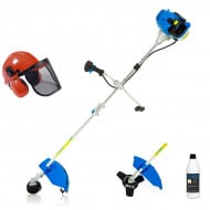 SGS 52cc Petrol Grass Strimmer with Premium Grade 2 Stroke Oil & Safety Helmet