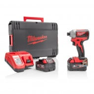 "Milwaukee M18BLID2-502X 18V 180Nm 1/4"" Hex Impact Driver Bundle with Free Battery"