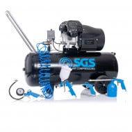 SGS 100 Litre Direct Drive Air Compressor & 5 Piece Tool Kit - 14.6CFM, 3.0HP, 100L