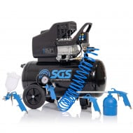 SGS 50 Litre Direct Drive Air Compressor & 5 Piece Tool Kit - 9.6CFM, 2.5HP, 50L