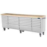 "SGS 96"" Stainless Steel 24 Drawer Work Bench Tool Chest Cabinet"