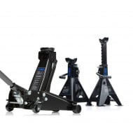 SGS 3 Ton Heavy Duty Trolley Jack With 4 Ton Ratchet Axle Stands