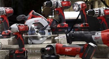 Milwaukee and Ryobi power tools