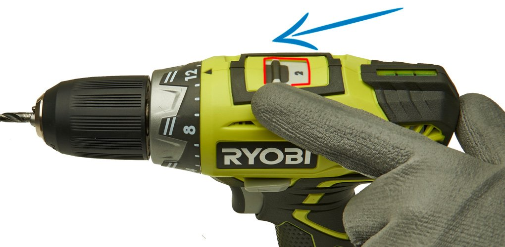 Set the gears – On a Ryobi drill you use gear 2 for drilling.