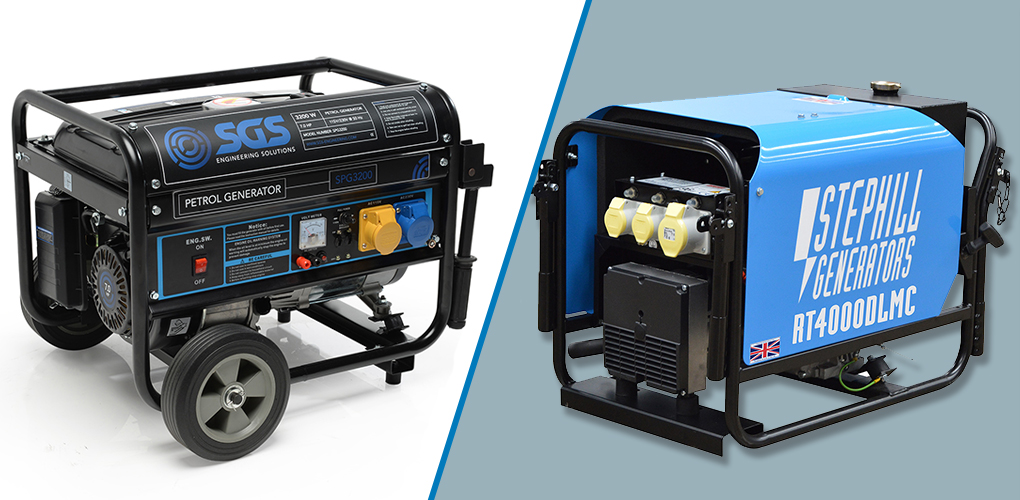 Choosing between a petrol or diesel generator may seem arbitrary, but in reality it will seriously affect your total cost of ownership. Diesel generator tend to cost more out of the box than petrol alternatives, but when you think about the long term running costs it's not quiet that simple. Over the long term, diesel will give you a considerable saving on fuel if you're using the generator often, especially if you have access to red diesel. Diesel engines require less maintenance and will generally stand up to more regular use, especially with high end engines and generator models. As a rule of thumb, it you're looking for a generator under 10 kVA then you would purchase a petrol model, and over 10 kVa you would look at diesel generators.