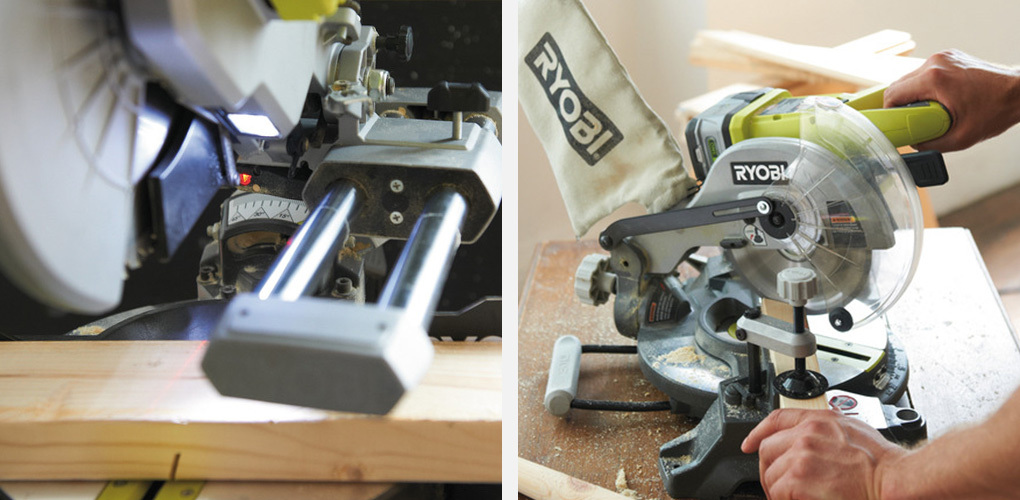 """• Draw a cut line down your material and line it up with the guide line of the mitre saw. If your saw has a laser guide, lining up the work piece is incredibly easy. • Hold the material firmly against the fence / backrest of the saw, making sure all your digits are well away from the cut area (15cm / 6"""") – if your saw has a clamp, use it! • Modern mitre saws will have a trigger built into the handle, and some will also have safety release button you need to press before you can pull the trigger. Start the saw and wait for the blade to reach maximum speed (a few seconds). • Slowly bring it down on to the work piece letting the saw do all of the work. • Gently guide the blade through the wood – you shouldn't have to press down hard at all. • Once the cut is done, release the trigger and wait for the blade to stop rotating before bringing the saw back up and out of the wood. Never reach under the saw while the blade is still rotating."""