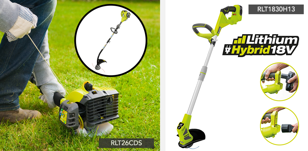 Add that finishing touch with a cordless Ryobi ONE+ petrol or hybrid grass trimmer. Lightweight and hard-wearing, they easily glide across your lawn for achieving the perfect edge and the telescopic shaft ensures great operational comfort.