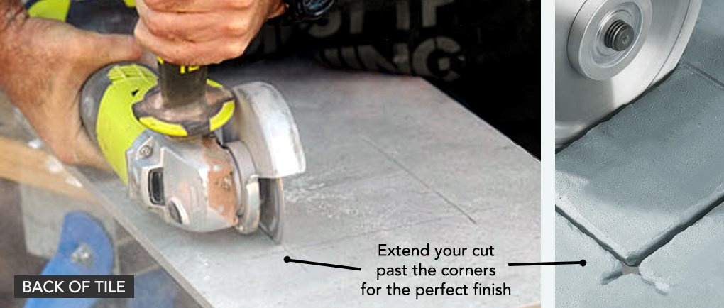 Flip your tile over and re-clamp it. Now the back of the tile should be facing up. Cut through the tile from the back. Extend your cuts slighting past the corners to get a perfect, crisp square corner.