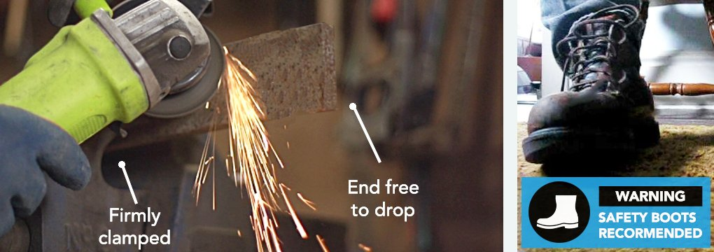 Skip to step two if you're trimming a bolt flush in concrete or another material. Firmly prop the long side of the bar, making sure it's secure. The part of the bar that will fall away after the cut should be the bit that drops away. Remember: you should be wearing your steel-cap boots!