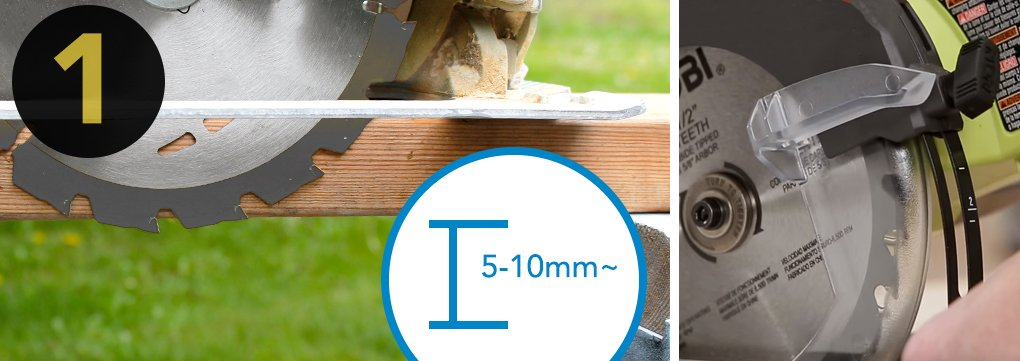1.Set the blade depth by unplugging your saw and holding it up next to the material you'll be cutting (with the guard retracted). Use the depth-adjustment knob to change the position of the shoe until the saw's blade extends 5-10mm below the material you're about to cut. When your saw is correctly set, tighten the adjustment knob and you're ready to go.