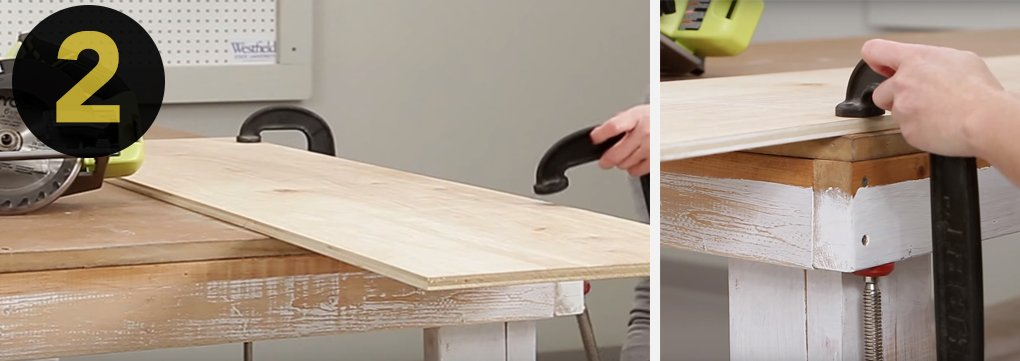 2.Place the wood you're working with on a surface where you're not going to hit anything, i.e not on the floor. Use a sawhorse, work bench and clamps or something similar. Make sure the excess wood is free to fall away, thereby reducing the risk of binding and kickback.
