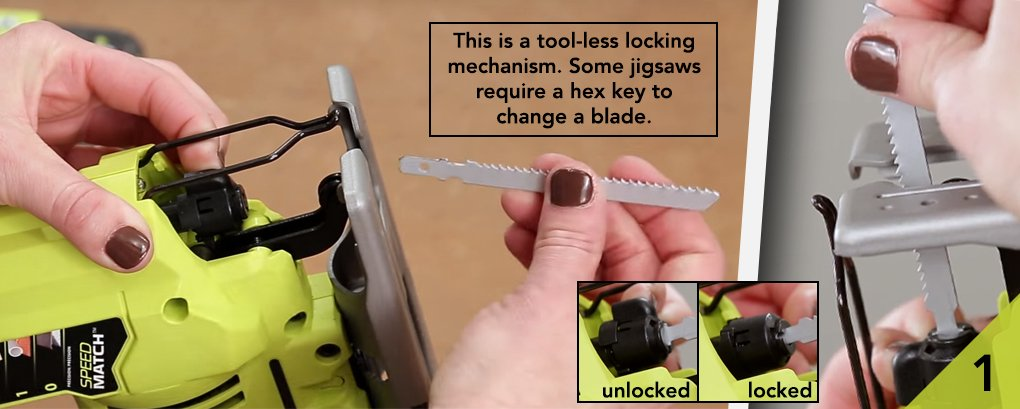 How to use a jigsaw safely correctly help advice sgs after choosing an appropriate blade mount it in your jigsaw while its unplugged or greentooth Images