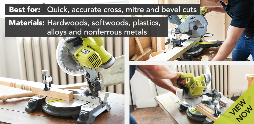 A mitre saw is a bit like a circular saw on a large pivoting head, which is pulled down onto the workpiece on a spring loaded hinge. The base plate has a fence that can be adjusted and set at a specific angle so you can deliver straight cuts through wood at any angle. With a compound mitre saw you have the added bonus of being able to do a bevel cut, meaning the pivoting head can be angle too so you can do more complicated skirting joints, boxing in and MDF work. What to look out for when purchasing a circular saw: A sliding mitre saw has the added benefit of a rail that extends the cutting width of a saw blade. With a sliding saw you can cut wood that is larger than cutting blade - for example the Ryobi 2000W 254mm Compact Sliding Mitre Saw. Other features you may or may not find useful are things like a laser guide and dust extraction. Neither feature is essential, but these features do improve cut line visibility and thereby the quality of your cuts.