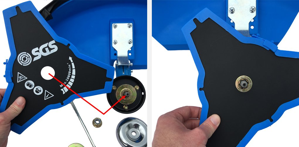 23 Take your brushcutting blade and place it on top of the brass washer