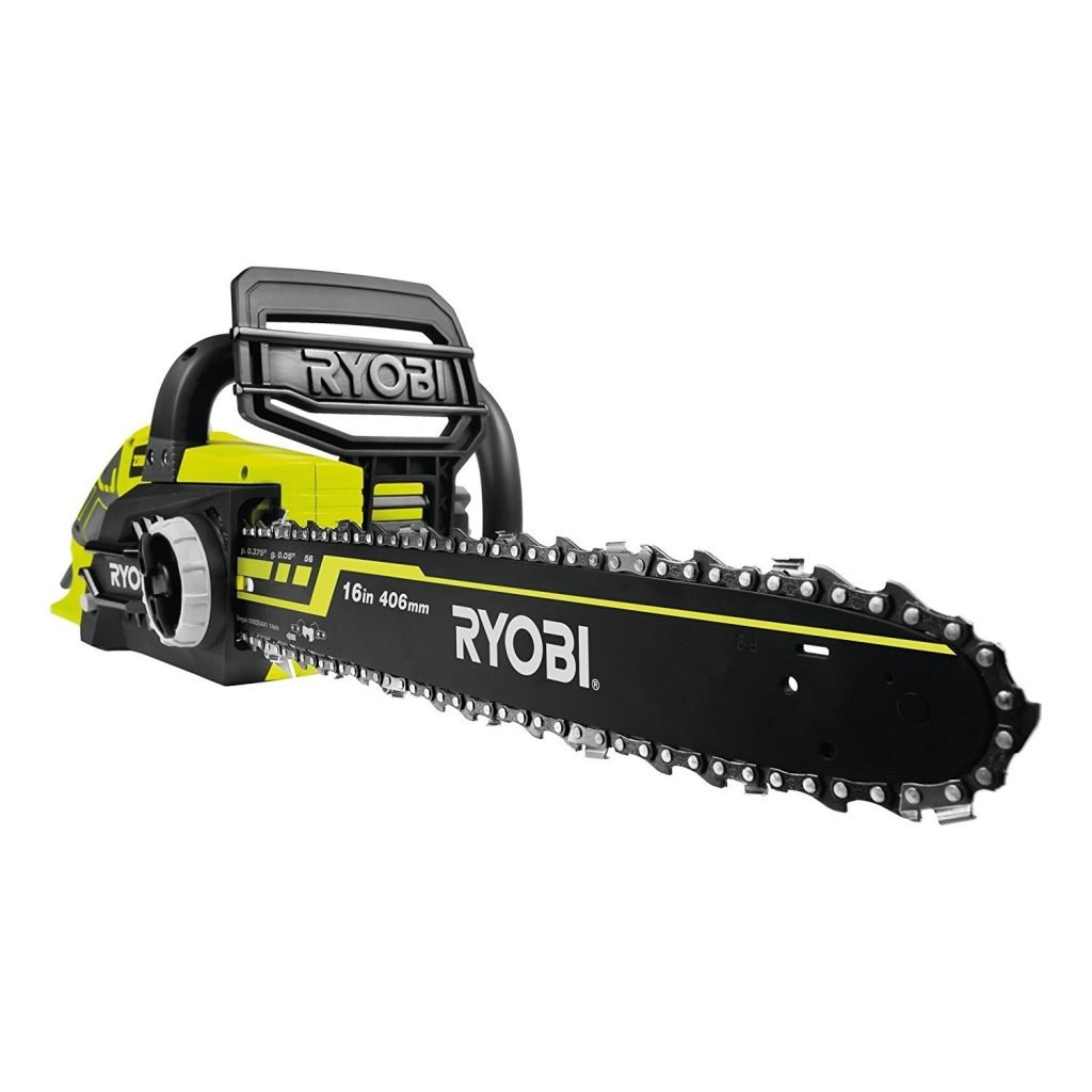 Ryobi 2300W Corded Chainsaw an electrical chain brake stops the chain from moving the instant the trigger is released and a mechanical brake will snap on the instant if there is any kickback during use.
