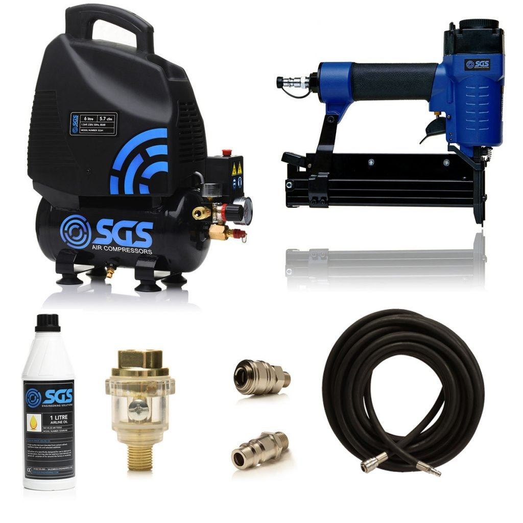Air compressor stapling and nailing kit