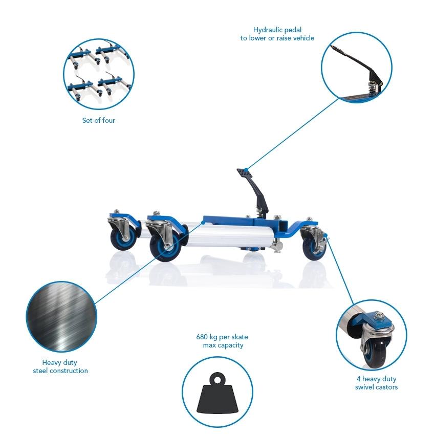 680kg hydraulic wheel skates