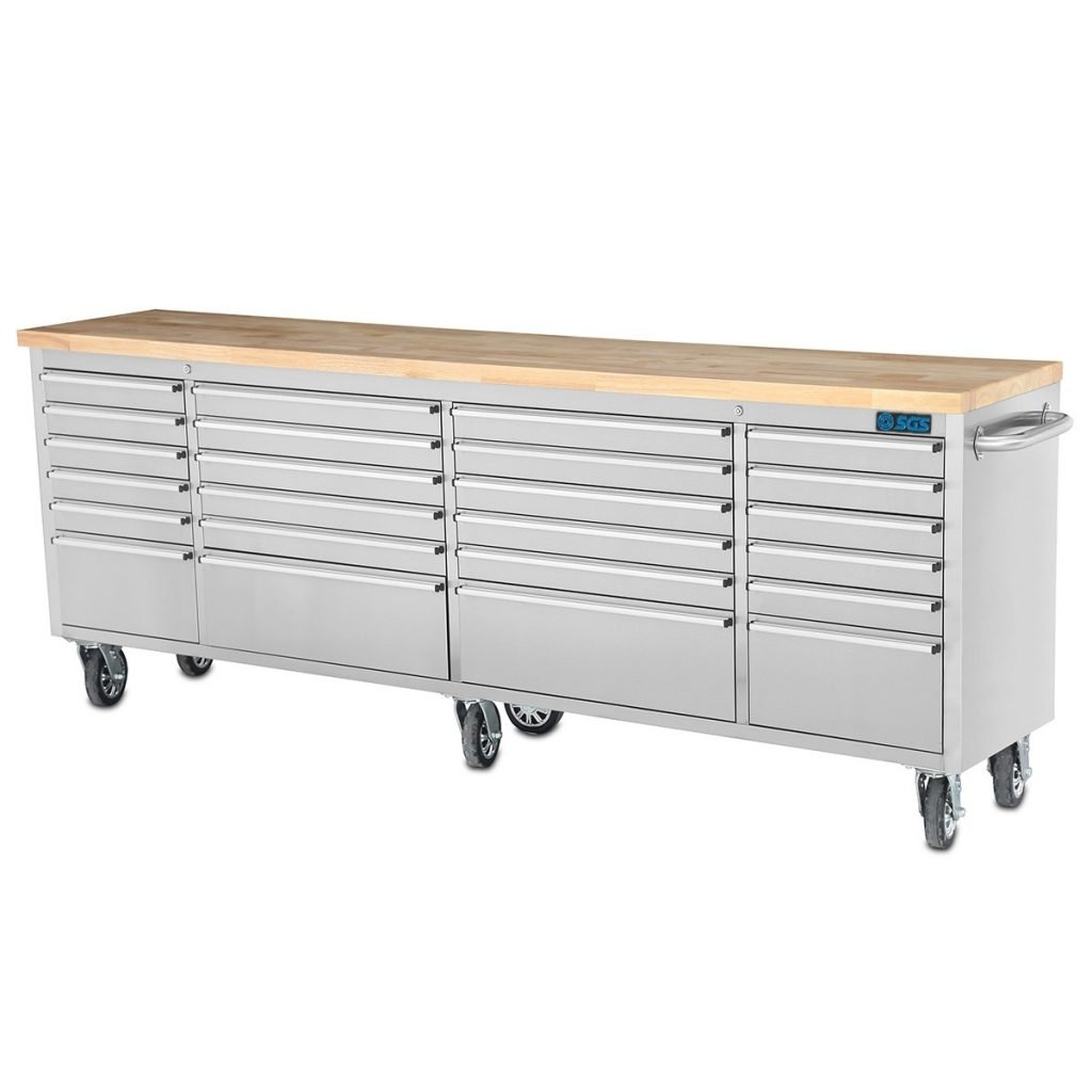 "96"" Stainless Steel 24 Drawer Bench"