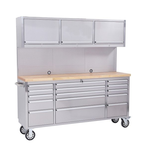 "72"" Stainless Steel 15 Drawer Work Bench with Upper Cabinet"