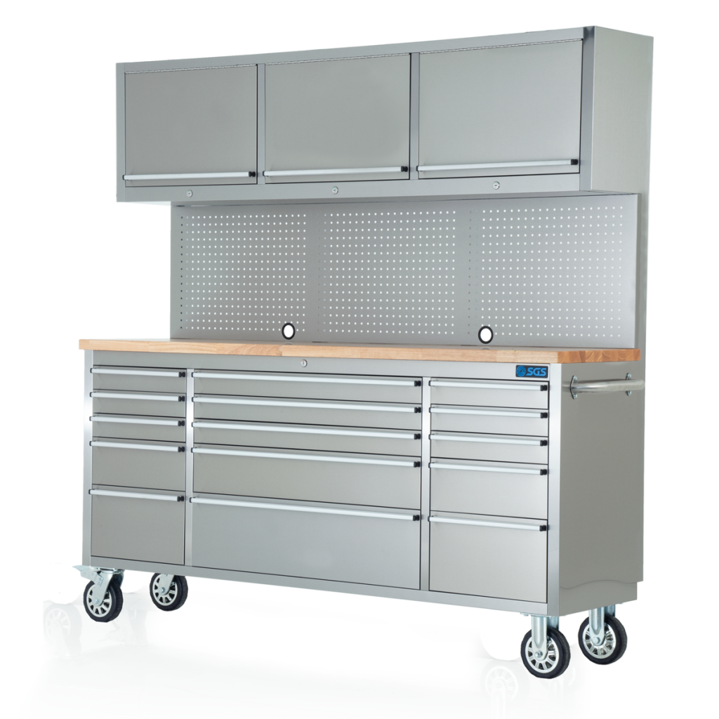 """72"""" Stainless Steel 15 Drawer Work Bench with Upper Cabinet"""